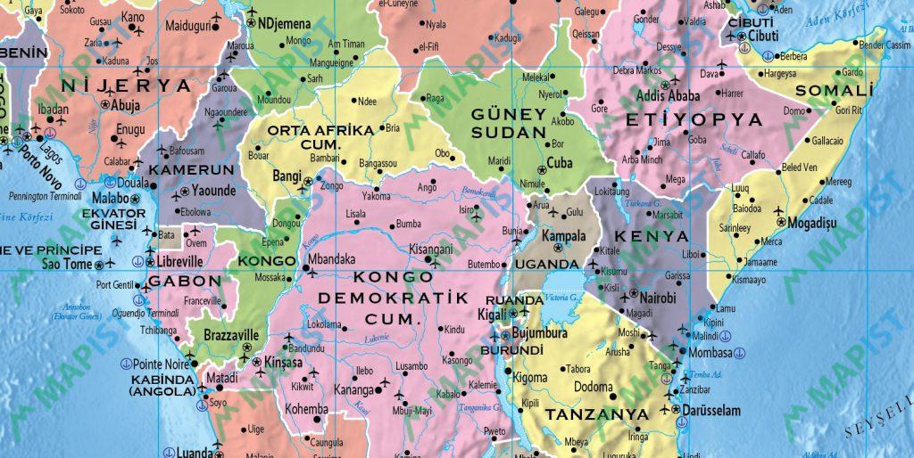Dünya Siyasi Haritası yakın plan görüntüsü