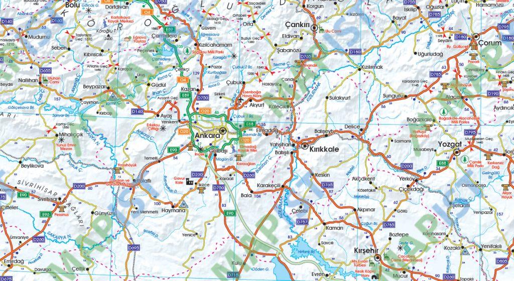 Türkiye Karayolları Haritası yüksek çözünürlüklü