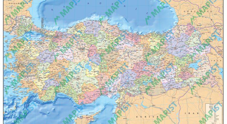 Turkiye Siyasi Haritası genel görüntüsü