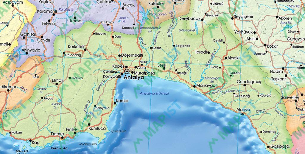 Türkiye Siyasi Haritası yakın plan görüntüsü